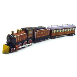Grandi giocattoli ferroviari online-Cartoon Winding-upTin Steam Train, Big Size, Manual Handcraft, Nostalgic Toy, Accessori casa, Kid 'Party Birthday Gift, Collezionismo, Decorazione