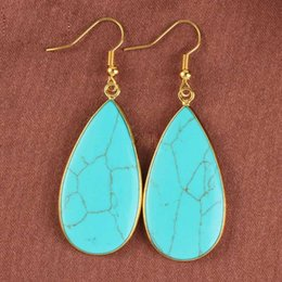 Wholesale Stone Ear Jewelry - musiling Jewelry Natural Stone Water Drop Earrings 18K Gold Plated Charms Wholesale Rhombus Ear Accessories Fashion Jewelry Women Gifts
