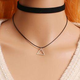 Wholesale Gold Chain Necklace Black Ribbon - Wholesale- 1 Pc Plain Black Velvet Ribbon Wide Choker Necklace Gothic Handmade With Charm Gothic Emo For Women Retro Punk Neckalce x176