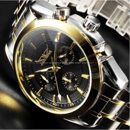 Wholesale 24 Watch Display Case - JARAGAR New Black Golden Case Stainless Steel Multifunction Day Date 24 Hours Display Watches Men Luxury Brand Automatic Watch
