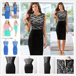 Wholesale Wearing Belts Slim Women - 2017 New Womens Elegant Vintage Contrast Colorblock Slim Belted Patchwork Casual Wear To Work Office Pencil Sheath Dress
