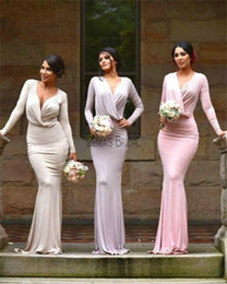 Wholesale Jersey Formal Gowns - 2017 Bridesmaid Dresses Low V Neckline Sheath Floor Length Gowns Pure Color Jersey Long Sleeve Formal Dresses