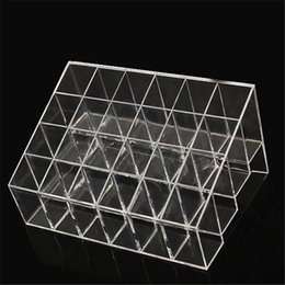 Бесплатная подставка для макияжа онлайн-Wholesale-24 Grids Trapezoid  Display Stand Lipstick Case Cosmetic Organizer Holder Transparent Shelf free shipping