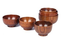 Wholesale Natural Wooden Boxes - Healthy Kids Lunch Box Natural Wood Round Salad Bowl Kitchen Bamboo Handmade Children Fruit Rice Bowl Jujube Wooden Bowl