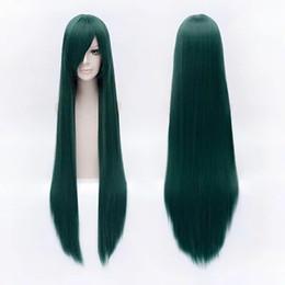 Kostüme für lange haare online-100 cm 40 zoll Dunkelgrün Lange gerade Cosplay perücke kostüm party frauen synthetische haar Hitzebeständige peruca