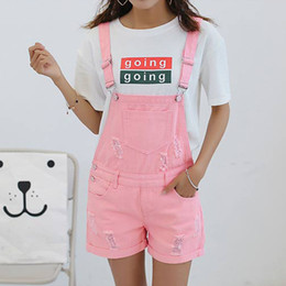 Wholesale Jumpsuits Shorts Style For Women - Wholesale 2017 New Arrival Summer Girls Denim Jumpsuits For Women Pink Holes Hem Rolled-up Loose Ladies Black Shorts Preppy Style Overalls