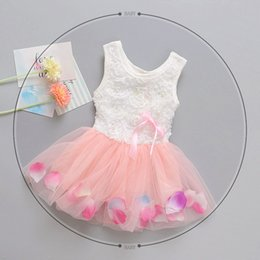 Wholesale Lolita Neck Flower - 2017 hot girls flower dress 3D rose flower baby girl Princess clothes dress with colorful petal lace dress Bubble Skirt baby clothes sg012
