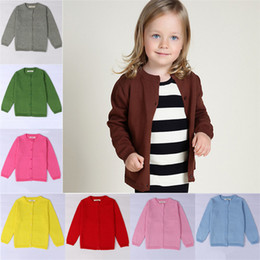 Wholesale free knitting machine - Baby Knit Cardigan Boys Girls Solid Color Sweater Children Spring Autumn Cotton Knitwear For New Kids Clothing Cheap Free DHL 429
