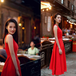 Wholesale Tea Length Maxi Dress - Glamorous Backless Sleeveless Scoop Neckline Tea Length Red Evening Party Dresses Beach Party Maxi Dress Simple Prom Dress Free Shipping