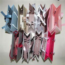 sacchetti di carta di gioielli Sconti 9 Sacchetto di gioielli in carta diversa con nastro per orecchini a forma di scatola di pan collana di gioielli confezione e display 6x6x16cm