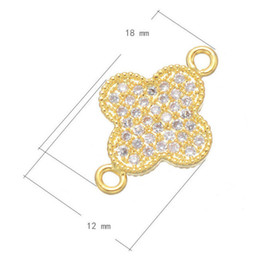 Wholesale New Gold Finds - Wholesale- Jewelry Finding Zircon Micro Pave Flower Pendant 2016 New DIY Gold Plated Handmade Connectors