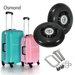 Wholesale Replacement Luggage Wheels - Hot sale 1 Pair Luggage Suitcase Replacement Wheels Axles Deluxe Repair OD 80mmx26mm Rubber Luggage Wheels Travel Accessories