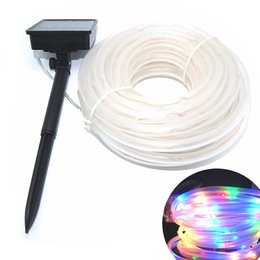 Wholesale Clear Wire Christmas Lights - Solar powered Led strip tube string lights 33ft 100 LED multi-color waterproof copper wire in clear tube for Christmas garden
