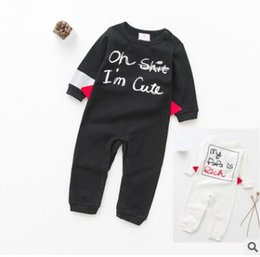 Wholesale Funny Girl Baby Clothes - Owlbaby Funny Letter Baby Romper Jumpsuits Outfits Boys Girls Long Sleeve Cartoon Outwear Sleepwear Unisex Toddler Infant Boutique Clothing