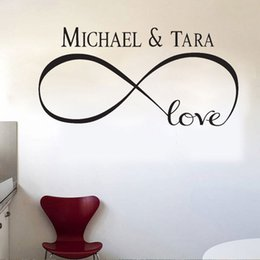 Wholesale Wall Stickers Personalized Quote - New Personalized Infinity Symbol LOVE Bedroom Wall Decal Quotes Vinyl Wall Stickers Butterflies Vinly free shipping