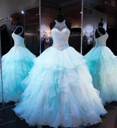 Wholesale Lace Dress Match - Ruffled Organza Skirt with Pearl Beaded Bodice Quinceanera Dresses 2017 High Neck Sleeveless Lace up Cups Matching Bolero Prom Ball Gown