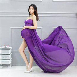 Wholesale Maxi Bra Dress - eClouds Hot sale Chiffon Bra Maternity Gown Photography for Pregnant Women Long Maxi Dress Photography Props free shipping