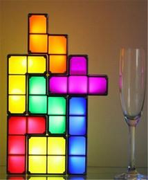 Wholesale Nightlight Toys - Tetris Puzzle Light Stackable LED Desk Lamp DIY Constructible Block LED Light Toy Retro Game Tower Block Baby NightLight