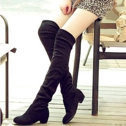 Wholesale long boots brand - Wholesale-Women Boots 2016 Autumn Winter Ladies Fashion Flat Bottom Boots Shoes Over The Knee Thigh High Suede Long Boots Brand