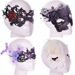Wholesale Venetian Mask Lace - Halloween Sexy Flowers Lace Party Masks Girls Women Masquerade Mask Venetian Half Face Mask Christmas Cosplay Party Eye Masks WX-M10
