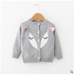 Wholesale Cartoon Characters Sweaters - Children knitting sweater Girls cotton Cartoon eyes ears round neck Cardigan Kid assorted color single-breasted outwears Girls Clothes C1569