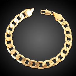 Wholesale 6mm Silver Plated Bracelet Chain - 24K Ywllow Gold Pure Copper Bracelet Men Women Jewelry Wholesale Trendy Silver Gold Color 20CM 6MM 10MM Thick Cuban Link Chain Bracelets