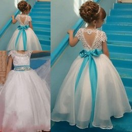 Wholesale T Shirt Rhinestone Designs - Special Design Flower Girl Dresses Backless Floor-length Ball Gown Sash Beads Bow Toddler Pageant Girl Dresses Lace Organza