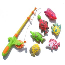 Wholesale Fishing Set Toy - Summer fishing toy set 6 double-sided fish 1 pole children puzzle kindergarten children Christmas gifts free shipping