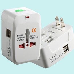 Wholesale Wholesale International Brands - All in One Universal International Plug Adapter 2 USB Port World Travel AC Power Charger Adaptor with AU US UK EU converter Plug DHL CAB164