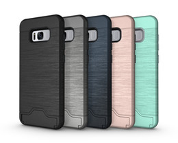 Wholesale Blue Grass Covers - Card Slot Case For iPhone7 Armor case hard shell back cover with kickstand case for iphone 6 6 plus 7 plus samsung S7,S7edge, S8 ,S8plus