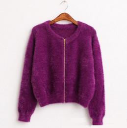 Wholesale Mohair Knitwear - Autumn spring zipper Sweater Cardigan feminino Female Casual Knitted Mohair Cardigans Women beautiful Sweaters Coat Knitwear 605