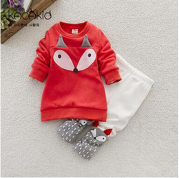 Wholesale Cute Red Winter Coats - Winter Baby Girl Clothing Set Little Fox Children Suit 2PCS Long-Sleeve Sweater Coat + cute Leggings Cotton thicking Christmas Gifts
