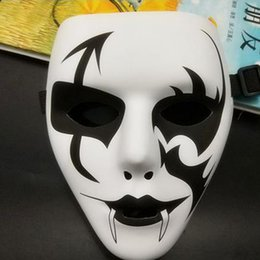 Wholesale Ghost Painting - Street dance mask stage props hip hop white ghost dance plastic hand-painted performance mask male fashion Hip-hop Style Mask for Halloween