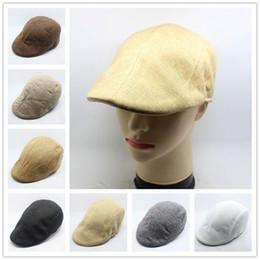 Wholesale Mens New Woolen Caps - New Beret Caps Unisex Mens Hats Cotton Striped Beret Hats and caps British Retro Men Women Woolen Flat Cap Boina Hat