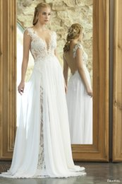 Wholesale Deep Slit Neckline - Silk Chiffon Splits Side Lace Beach Wedding Dresses 2017 High Quality Deep V Neckline Floral Appliqued Bridal Gowns