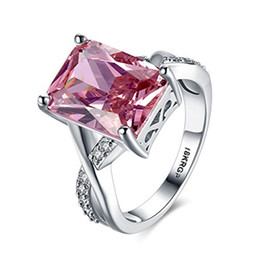 Wholesale Emerald Cut Engagement Rings - Classical Platinum Plated Pink Stone Rhinstone Solitaire Ring Her Wedding Engagement Promise Ring Set Emerald-Cut Bridal Jewelry