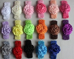 "Wholesale Crochet Rose Headband - Free ePacket CPAP 30pcs 3"" satin runched rolled rose hair boutique crochet headband flowers for girls hair accessories"