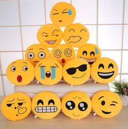 Wholesale Toy Yellow Soft Duck - 27 styles 32cm Emoji Stuffed Plush Pillows QQ expression cushion Cartoon Smiley Pillow Cushions Yellow Round Pillow Stuffed Plush Toys gifts