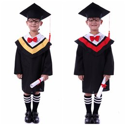 Wholesale Red Dr - Kids Primary School Graduation Gown With Hat Performance Clothing Academic Dress Gown Kindergarten Dr Bachelor Clothes