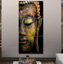 Wholesale Buddha Wall Panel - 2017 HD printed 3 piece canvas wall art Buddha meditation painting buddha statue wall art canvas prints