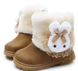 Wholesale Shoes Pink Flowers - Wholesale New Children's Rabbit Hair Snow Boots Kids Plush Warm Shoes Baby Red Pink Shoes Winter Boots