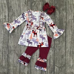 Wholesale Boutique 4t Girl - new arrival fall winter baby girls moose wine burgundy outfits ruffles pants children clothes boutique match accessories set