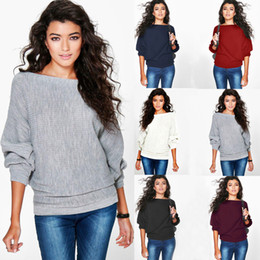 Wholesale Knitting Blouse Womens - 2017 New Womens Casual Batwing Loose knitted Jumper Sweater knitwear Pullover Loose Tops Blouse 6 Colors 4 Size