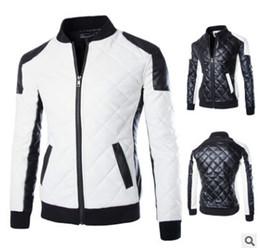 Корейский Новый дизайн мужская куртка WinterAutumn искусственная кожа BlackWhite мода тонкий плед Куртка для человека кожа Jacke Drop Shipping MY23 от