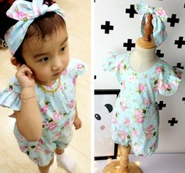 Wholesale Toddler Headband Headwrap - INS baby girls infant toddler 2piece outfits floral romper diaper covers bloomers Ruffles Lace + bowknot headband headwrap cotton