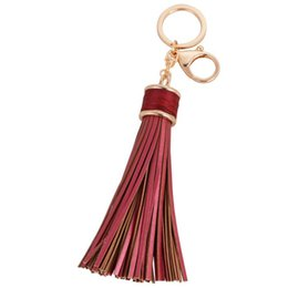 Wholesale Key Shipping - Free Shipping Fashion casual PU leather tassels women keychain bag pendant alloy car key chain ring holder retro jewelry