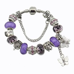 Wholesale Purple Butterfly Charm Bracelet - New Purple diy crystal beads butterfly bracelet the European and American fashion charm bracelets free shipping