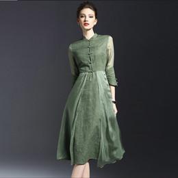 Wholesale Elegant Silk Standing - Elegant Dresses Vintage Elegance 7 Minutes of Sleeve of Cultivate One's Morality Show Thin Skirt Cotton Fiber Splicing Emulation Silk Dress
