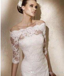 Wholesale Silver Shoulder Wrap Wedding Accessory - Lace White Ivory Half Sleeve Off-Shoulder Wedding Bridal Wraps & Jackets&Boleros&Shawl Wedding Coats Bridal Accessories Cheap
