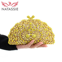 Wholesale Lemon Yellow Handbags - Wholesale- NATASSIE New Women Crystal Luxury Evening Handbag Pair Peacock Shape Clutch Bag for Wedding Party Diamonds Chains Lemon Yellow